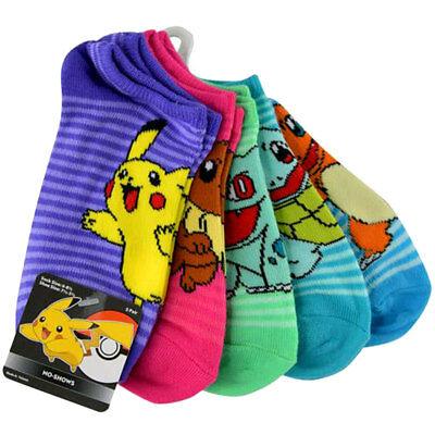 Pokemon Pikachu Girls Kids 5 Pair Striped No Show Socks Size 6-8.5 Shoes 7.5-3.5