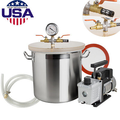 5 Gallon Vacuum Degassing Chamber Silicone Kit W3 Cfm Pump Hose Equipment