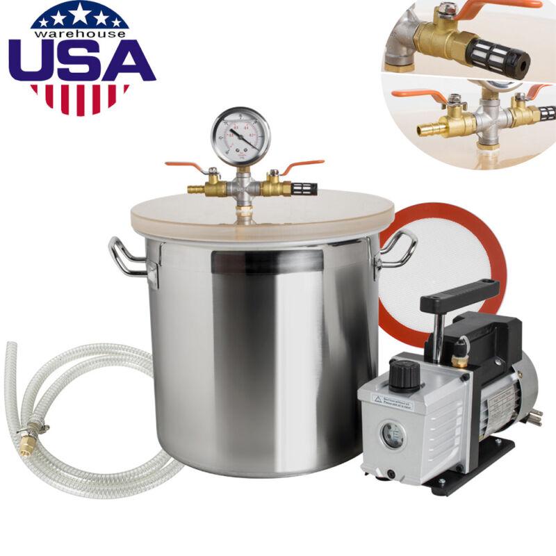 5 Gallon Vacuum Degassing Chamber Silicone Kit w/3 CFM Pump Hose Equipment
