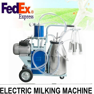 Portable Electric Milking Machine For Farm Cow Cattle Bucket Vacuum Piston Pump