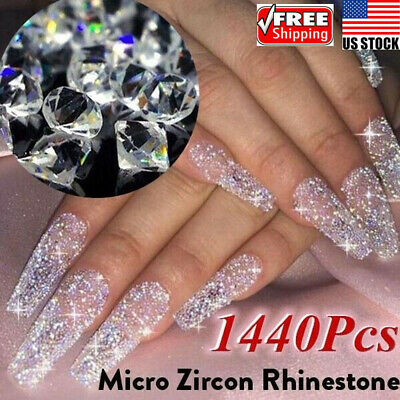 1440Pcs Crystal Rhinestone 3D Glitter Jewelry Glass Diamond Gems Nail Art (Diamond Art Jewelry)