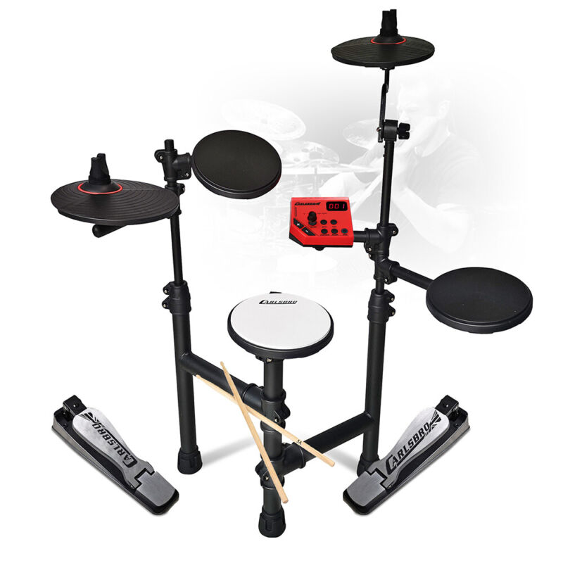 Foldable Electric Drum Kit Set 5-Piece Digital Pads Jazz Style with Drumsticks