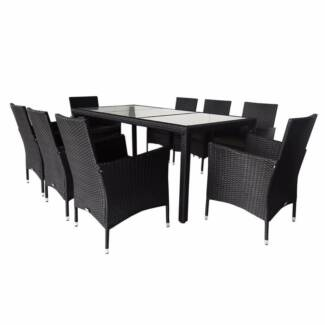Luxo Simon 9pc PE Wicker Outdoor Dining Setting   Black. $699.00. Seven  Hills Part 40