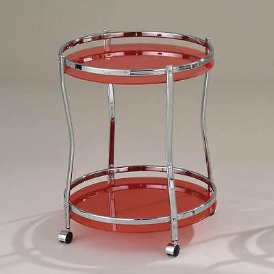 Corey Modern Kitchen Round Serving Cart Red Glass Chrome ...