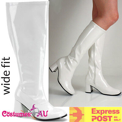 Womens White Gogo 1960s 60s go go Boots Knee High Boots Ladies 70s 1970s Shoes - 1970 Go Go Boots
