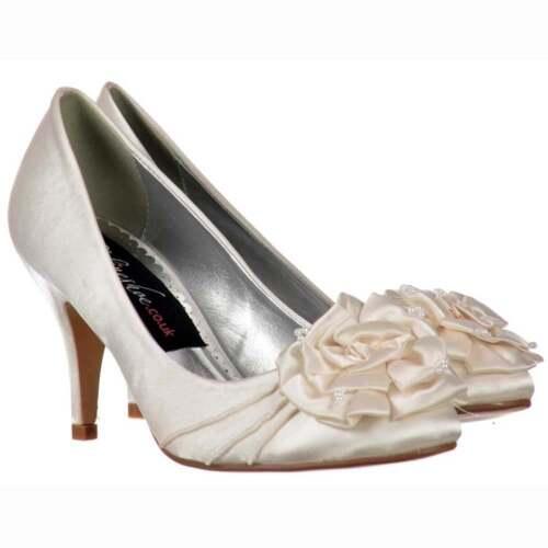 Las Low Kitten Heel Bridal Wedding Shoes Flower And Pearl Ivory Satin