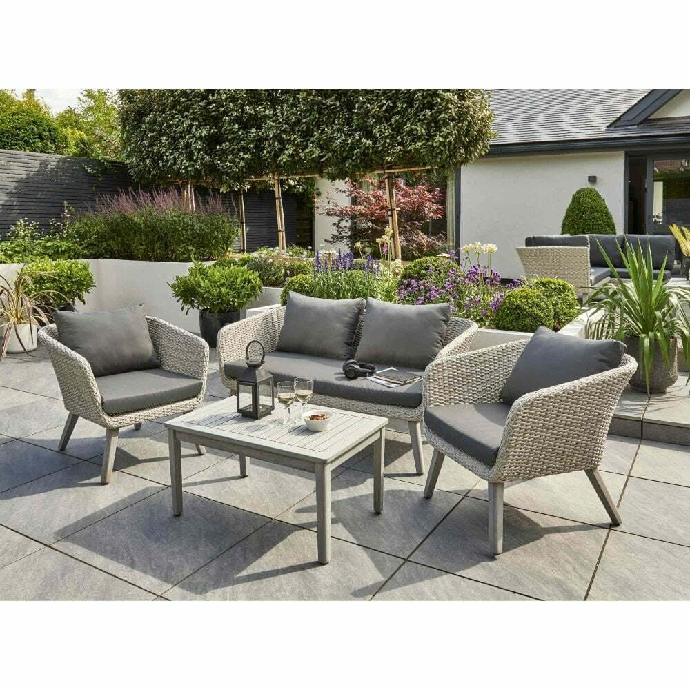 Garden Furniture - Chedworth Rattan Garden Furniture Sets Grey Wicker Weave With Arcacia Wood Legs