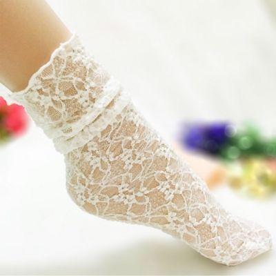 Ankle Ladies Fashion Floral Ruffle Net Boot Vintage Women Lace Mesh Heap Socks Womens Boot Socken