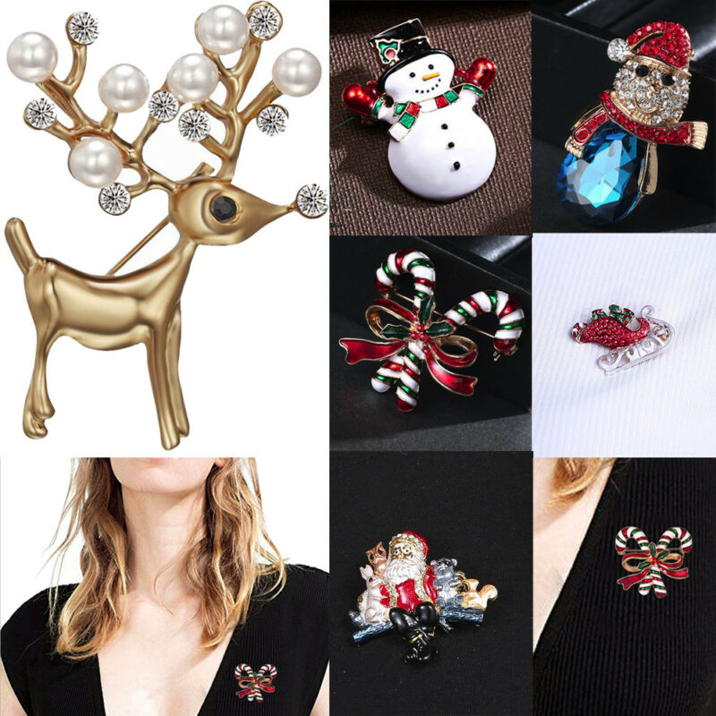 Sleek Minimalist Christmas Deer Head Rhinestone Alloy Brooch High-End Wild Anima