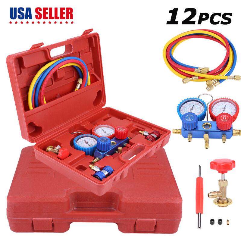 R134A HVAC A/C Refrigeration Kit AC Manifold Gauge Set Car Auto Service Kit
