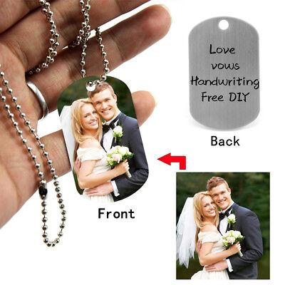 Personalisiert DIY Eingraviert Foto Text Halskette Anhänger Kette Hundemarke ID
