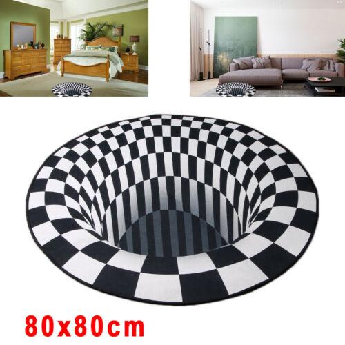 3D Printed Round Vortex Illusion Anti-slip Home Room Rug Car