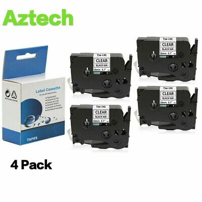 4PK Label Tape Black on Clear 18mm Compatible for Brother P-Touch TZe141 Tz141