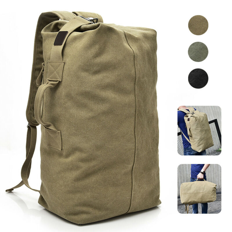 Military Duffle Bag Double Strap Canvas Backpack Army Travel Handbag Satchel