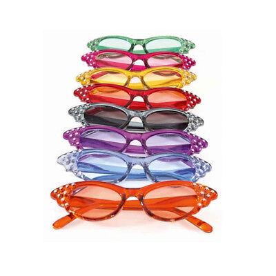 Brille mit Strassteinen div. Farben, Kostümbrille Karnevalskostüm Partybrille