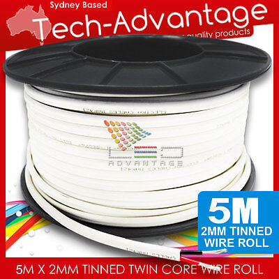 5M X 2mm 6 AMP MARINE TINNED TWO CORE WIRE/ELECTRICAL LED CABLE - BOAT/CARAVAN