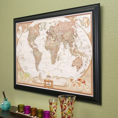 Executive World - Travel Map with Pins - Pin Your Travels - Great Gift! (World Maps With Pins)