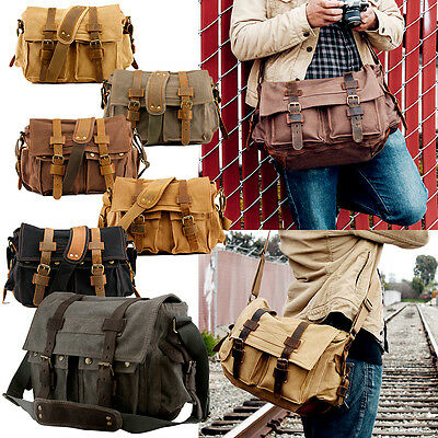 Mens Military Canvas Leather Satchel School 14  Laptop Shoulder Messenger Bag