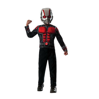 Marvel Ant Man Muscle Chest Shirt And Mask 2 Piece Costume Set FITS SIZE 4-6 NWB