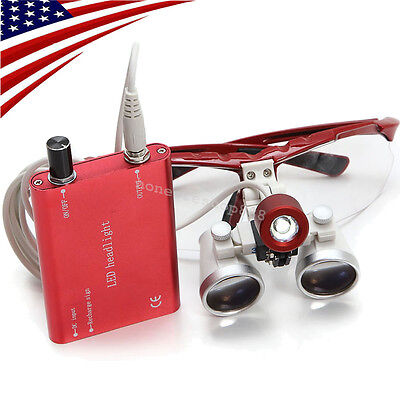 Red Dental Surgical Binocular Loupes 3.5x420mm Optical Glass Led Head Light Lamp