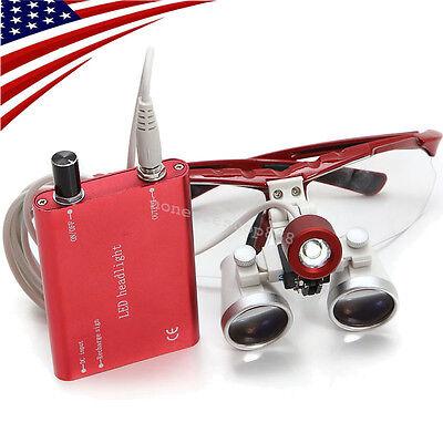 Red Dental Surgical Binocular Loupes 3.5x420mm Optical Glass Led Head Light Lamp