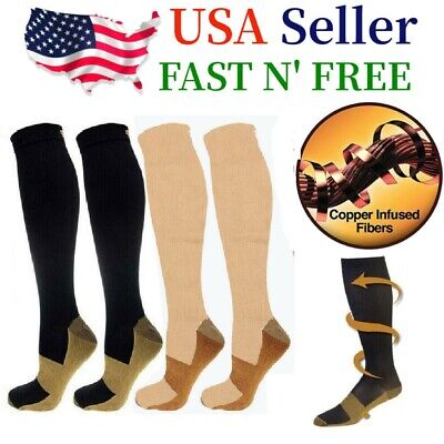 (2 Pairs) Copper Infused Compression Socks 20-30mmHg Graduated Mens Womens S-XXL