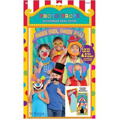 CARNIVAL Photo Booth Props Kit Party CLOWNS Decorations Backdrop Scene Setter - Circus Scene Setters