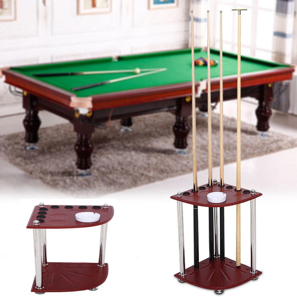 8 Cues Billiard Cue Pool Rack Holder Sticks Balls Storage Floor Stand w/ Ashtray