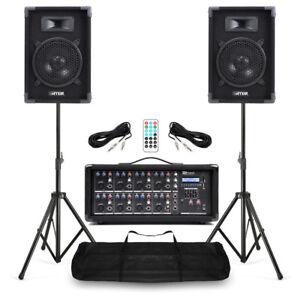Complete Band PA Speaker System 400w with 8 Channel Mixer Amplifer plus Stands