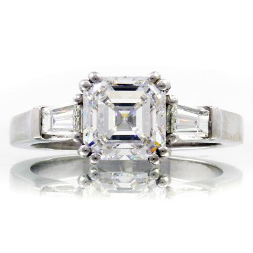 GIA Certified Diamond Engagement Ring 1.40 CTW Asscher & Baguette Platinum