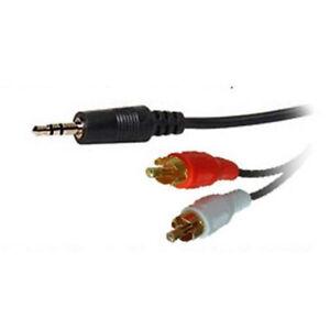3M Gold 3.5mm Mini Headphone Jack Stereo to 2x RCA Phono Red White Audio Lead
