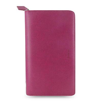 Filofax Compact Zip Pennybridge Diary Notebook Raspberry Leather Organise-028036