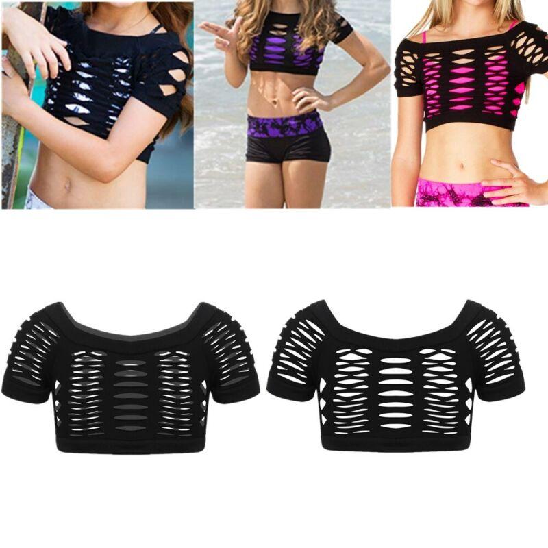 Kids Girls Gymnastics Belly Dancing Crop Tops Workout Costumes Summer Daily Wear