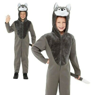 Childs Wolf Costume Animal Kids Big Bad Book Week Day Boys Fancy Dress Outfit - Big Bad Wolf Girl Costume