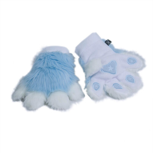 PAWSTAR Pawmitts - Furry Hand Paw Gloves Fursuit White baby Pastel Blue [LB]3180