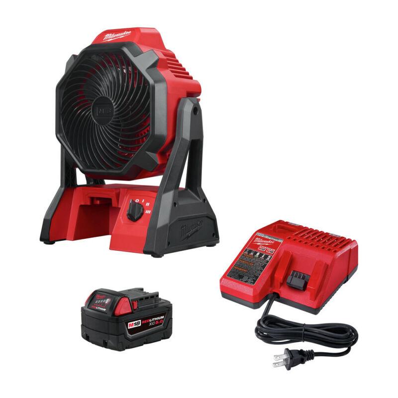 Milwaukee 0886-20P M18 Jobsite Fan w/ M18 REDLITHIUM XC 5 Ah Starter Kit New