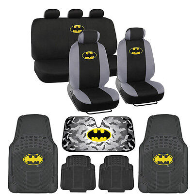 Warner Brothers Batman Gift Set -Car Seat Covers, Rubber Floor Mats, Autoshade
