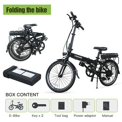 Bikemate eBike 250W 20'' Folding Electric Bike City Scooter 36V 6.6Ah Li-Battery
