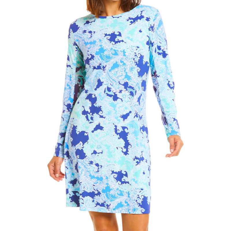 IBKUL Ladies Long Sleeve Crew Neck Dress - Pascha Print