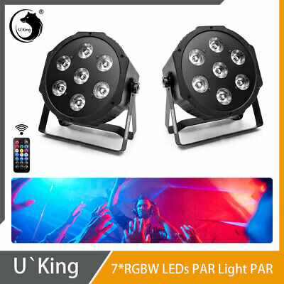 2PCS 7 LED U`King Bühnenlicht RGBW Par Licht DMX Fernbedienung Party Disco Club  - Par Pc