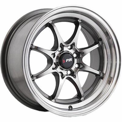 """F1R Wheels F03 Rims 15x8 4x100 4x114.3 +25 Offset 2.75"""" Lip Machined Gunmetal"""
