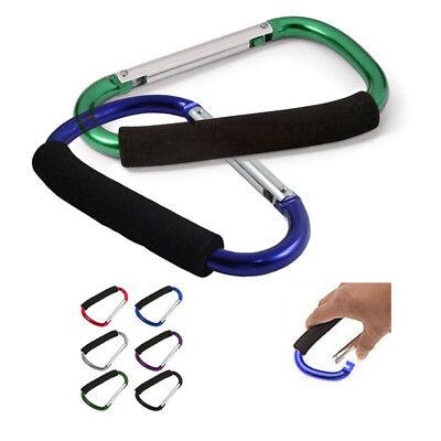 2 Jumbo Aluminum Carabiner Large D Ring Snap Hook Key Chain Cushion Grip 6 1/2