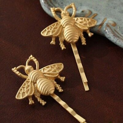 2Pcs Sell Girls Women Gold Tone Bumble Bee Bobby Pins Hair Clips