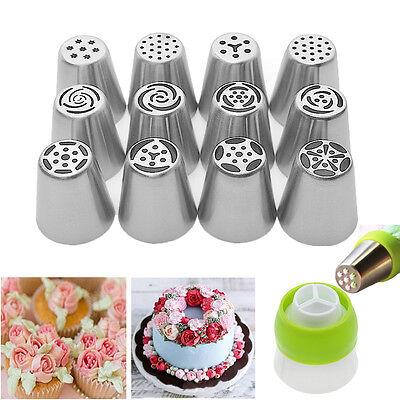 12 Pcs Russian Flower Icing Piping Nozzles Decoration Tips Baking Xmas Cake Tool ()