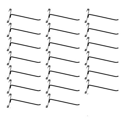 20 Pc Gloss Black 8 Long Gridwall Hooks Grid Panel Display Wire Metal Hanger