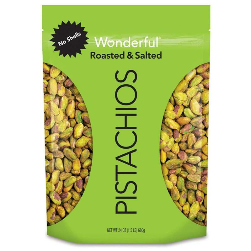 Wonderful Pistachios, No-Shell, Roasted and Salted, 24 Ounce Resealable Bag