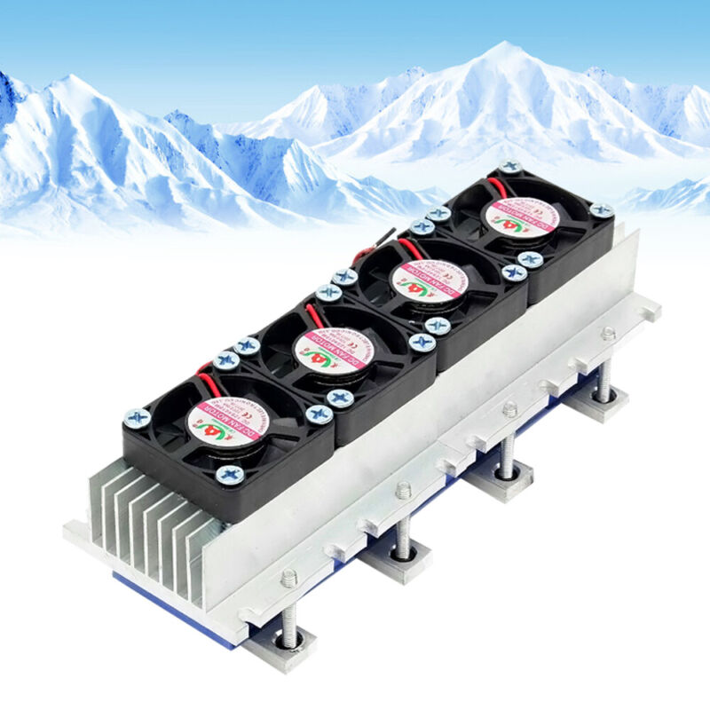New 12V 4 Chip DIY Thermoelectric Peltier Cooler Water Cooling Device US STOCK