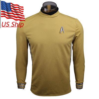 Star Trek Beyond Kirk Commander Unifrom Cosplay Costume Yellow Men's Shirt New