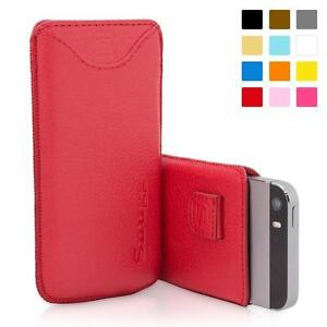 iPhone 5 / 5S / SE Case, Snugg™ - Red Leather Pouch Cover with Card Slot & Soft Premium Nubuck Fibre Interior