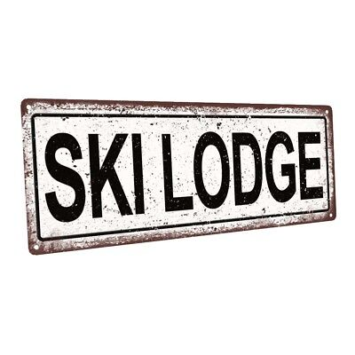 Ski Lodge Decor (Ski Lodge Metal Sign; Wall Decor for Vacation)